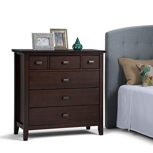 Simpli Home Artisan Solid Wood 36 inch Wide Contemporary Bedroom Chest of Drawers in Medium Auburn Brown