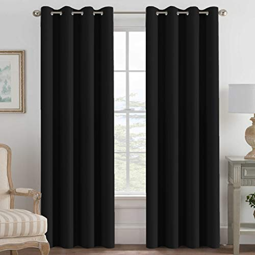 H.VERSAILTEX 100% Blackout Curtains for Bedroom Thermal Insulated Light Blocking Curtain 84 Inch Long Grommet Window Treatment Panel for Living Room/Patio Door, Solid in Jet Black (One Panel)