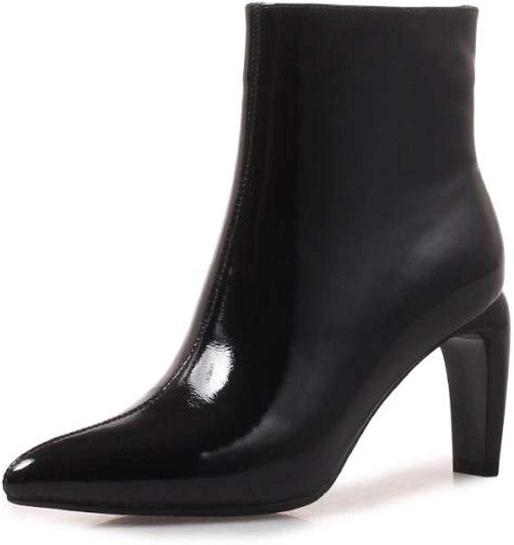 Nine Seven Women's Patent Leather Pointed Toe High Heel Handmade Elegant Side Zipper Business Walking Dress Ankle Booties