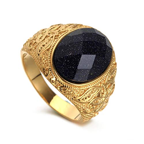 Adisaer Herrenring Gold Ring Herren Islam Retro Totem Edelstahl Solitärring Gr. 65 (20.7)