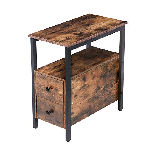 HOOBRO End Table, Chairside Table with 2 Drawer and Open Storage Shelf, Narrow Nightstand for Small Spaces, Stable and Sturdy Construction, Wood Look Accent Furniture, Rustic Brown and Black BF54BZ01