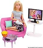 Barbie FXG36 - Möbel Spielset Wohnzimmer mit Kätzchen und Zubehör, Puppenzubehör Spielzeug ab 3...