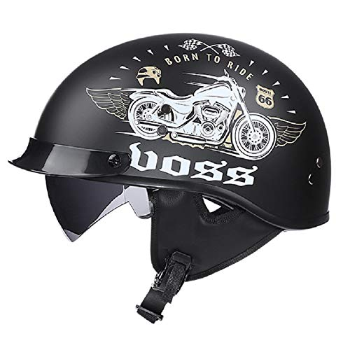 EDW Motorrad Harley Retro Halbhelm DOT-Zertifiziert Open Face Cruiser Roller Biker Mofa Bobber Motorrad 3/4 Pilotenhelme Kopfschutz Integrierter Spiegel Unisex,M(54~55cm)