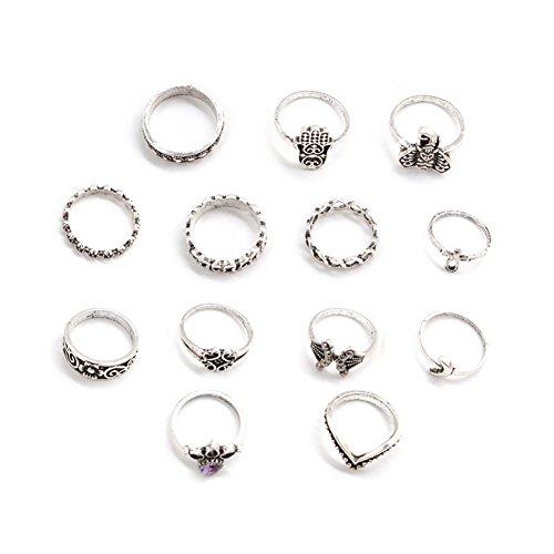 Lubier 1 juego de anillos de corona retro para mujer, anillos de cristal para regalo, accesorios de joyería (13pcs)