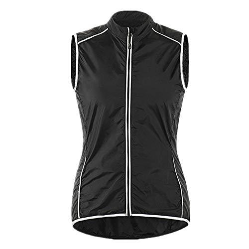 Ultraleichte, reflektierende Fahrradweste für Damen, winddicht, mit Reißverschlusstasche auf der Rückseite Gr. XXL, Schwarz