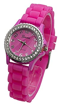 Women s Geneva PINK Platinum Silicone Rubber Jelly with CZ Crystal Rhinestones Face Bling Bezel