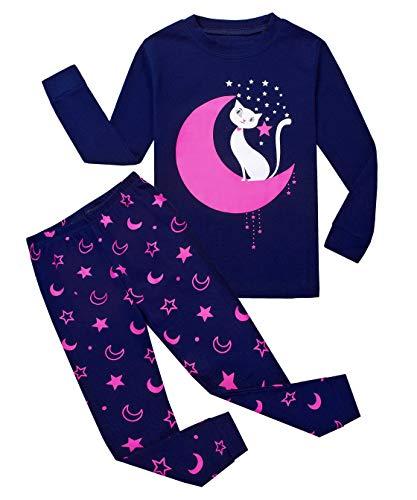 Tkiames - Pijama para niña de jirafa (2 piezas, ajustado, corte estrecho, 100% algodón, tallas de 1 a 10 años) Moon Cat 6-7 Años