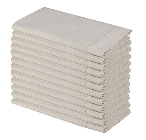 SweetNeedle - Packung mit 12 - Flachs Baumwolle Handgemachte Designer Leiter Lace Hemstitched Servietten 50x50 cm (20x20 Zoll) in natürlicher Farbe - Premium-Leinen-Look, Flachs Baumwollmischung