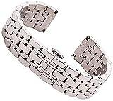 18 mm 20 mm 22 mm de acero inoxidable reloj de la banda de la banda de plata pulida para hombre de reemplazo de lujo de reemplazo de la banda de reloj de reloj de la banda de la brazalete de la brazal