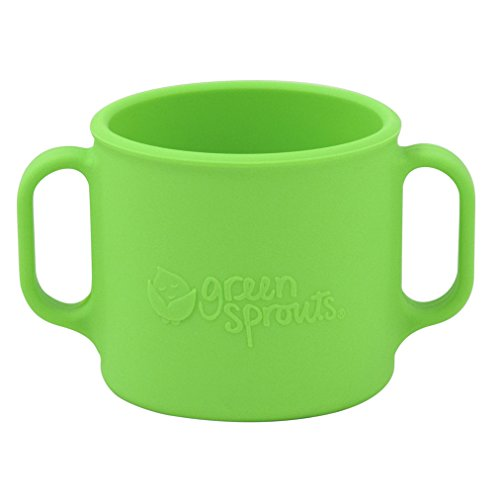 green sprouts Learning Cup   Silicone helps avoid harmful chemicals   Helps toddler develop independent drinking skills, 2 easy-grip handles, Heat-Resistant, Dishwasher Safe