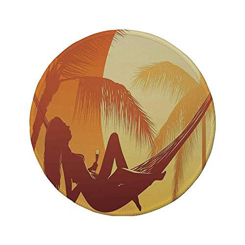 Rutschfreies Gummi-rundes Mauspad tropisch Silhouette einer sexy Frau die in einer Hängematte bei majestätischem Sonnenuntergang liegt Traumdruck dekorativ gebranntes Orange 7,87 'x 7,87' x3MM