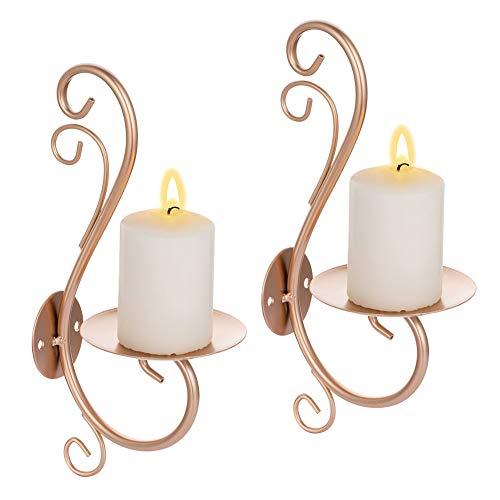 Sziqiqi 2 Stück Wand Kerzenhalterung Wandteelichthalter aus Metall Kerzenhalter Wand Kerzenständer Teelichthalter Rosegold Kerzenhalter Stumpenkerzen Dekor für Schlafzimmer Esszimmer Wohnzimmer