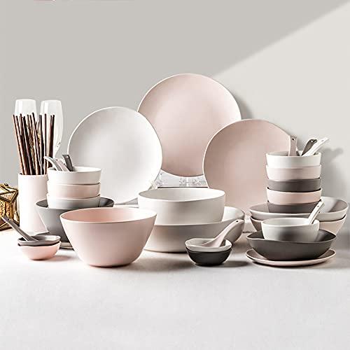 De vajilla de cerámica, 46 Piezas de combinación Simple de Porcelana de Estilo nórdico: Cuenco/Plato/Cuchara   Vajilla de la Serie de Tres Colores para reuniones Familiares
