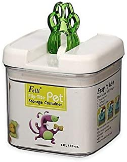 Flip-Tite Paw Square Food Storage Canister in Clear/Pear