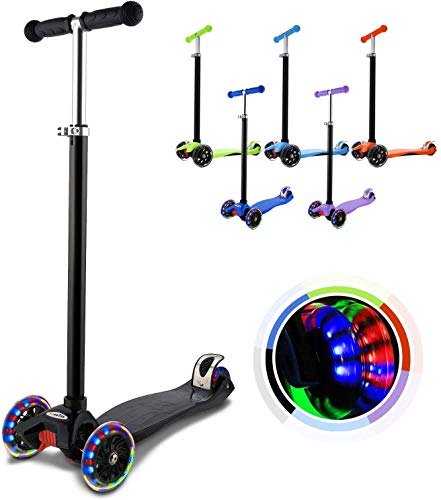Hikole Patinete Infantil 3 Ruedas, niños de Altura Ajustable Scooter para niños y niñas 3-12, luz LED Intermitente Ruedas de PU (Almacén checo) color Negro