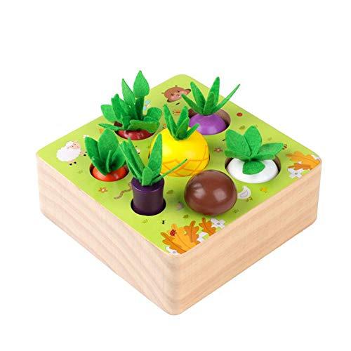 Hearthrousy Holzspielzeug Montessori Karottenernte Spielzeug Sortierspiel Holz Für Kinder Baby Karotten Ziehen Spielzeug Pädagogisches Lernspielzeug Für 1-4 Jahre Kleinkinder