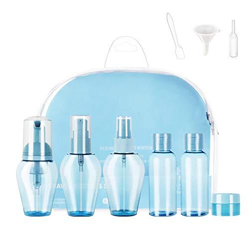 Botellas Cosmeticas, 6 Botella de Viaje Plástico, Botellas Rellenables Portátiles FDA Certified BPA Free para Aceites Esenciales Viajes Perfumes Champú Acondicionador, Loción