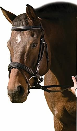 FSS German COMFORT Padded Poll Mexican Ring Grackle Figure 8 Noseband Bridle BLK