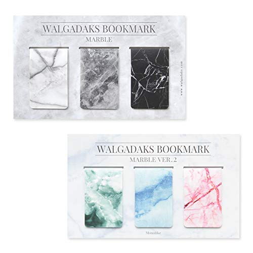 Monolike Magnetic Bookmarks Marble, 6 Pieces