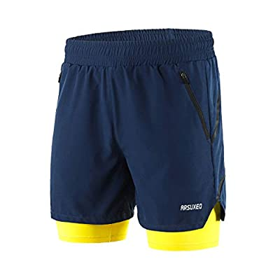 ARSUXEO Men's 2 in 1 Active Running Shorts with 2 Zipper Pockets B191 Blue Size Medium
