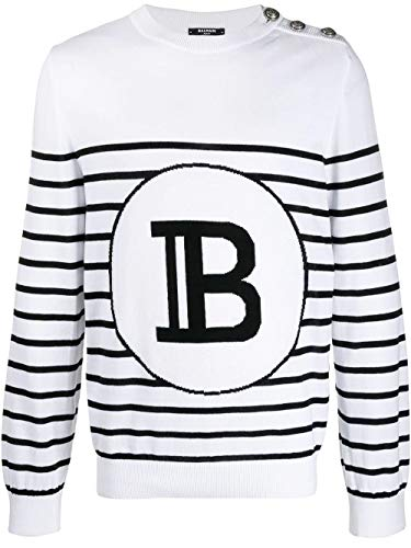 Luxury Fashion | Balmain Heren TH13217K177GAB Wit Katoen Truien | Lente-zomer 20