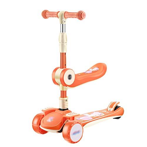 ZHIHUI Scooter Patinete Scooter de Kick de 3 Ruedas para Niños Scooter Plegables con Asiento Extraíble Altura Ajustable Scooters para Niños para Niños y Niñas Scooter (Color : Orange)