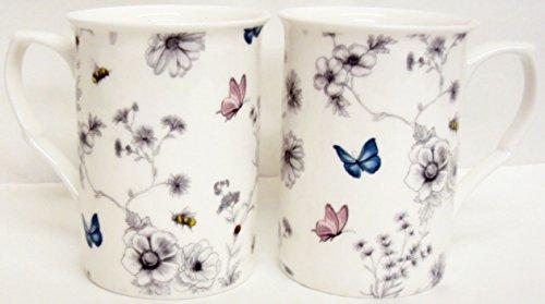 fromeuropewithlove Secret Garden 6Tazas de Porcelana China, Seis Flores Mariposas y Abejas Tazas Decorada a Mano en el Reino Unido