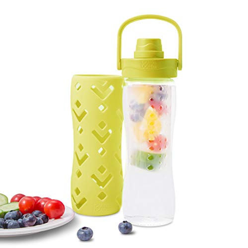 bottlebottle Fruit Infuser Water Bottle with Handle Chug Lid Protective Insulated Sleeve, 15.5oz,...