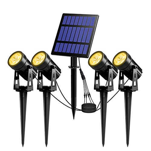 T-SUN Faretti Solari Esterno, 4-IN-1 Bianchi Caldi 3000K Lampade Solari da Giardino, 2 Livelli di Luminosità , Impermeabili IP65, Luci a Energia Solare per Piscina, Cortile, Vialetto, Patio, Alberi.
