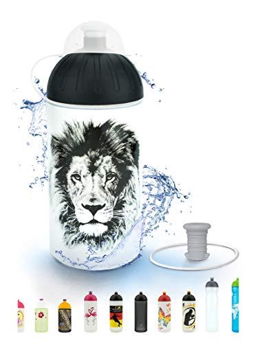 FreeWater Trinkflasche 500 ml, Löwe, transparent: schadstofffrei, spülmaschinengeeignet, auslaufsicher, langlebig
