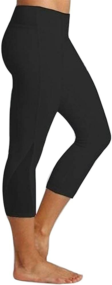 Women's Capri Leggings High Waist Stretch Cropped Workout Leggings Yoga Pants No See Through Fabric Upgraded Underwear