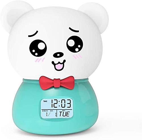 Despertar luz despertador lindo mascota noche luz colorido bluetooth silicona pat luz de dibujos animados Tanabata regalo rosa-verde