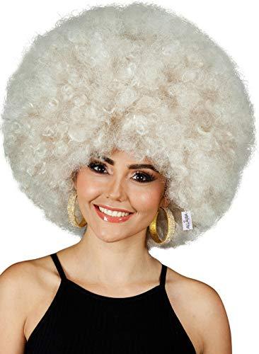 Deluxe 70s Afro Wig Women - Huge Blonde Jumbo Afro Disco Costume Wigs 70's Costumes Accessories. Fits Adults Men Kids
