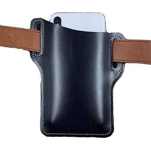 Retro Handy Ledertasche Gürteltasche, Handyträger Gürteltasche, Mode Pu Leder Taille Gürtelschlaufe Handy Schutzhülle Tasche Holster (Schwarz)