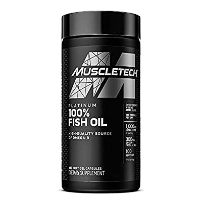 Omega 3 Fish Oil Capsules | MuscleTech 100% Omega Fish Oil | Burpless Fish Oil Supplement | Omega 3 Fatty Acid Supplement | Fish Oil 1000mg Pills, 100 Count