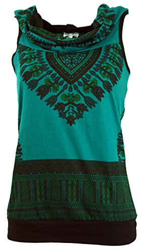 Guru-Shop Kapuzen Dashiki Tank Top, Goa Festivaltop, Damen, Petrol, Baumwolle, Size:M/L (38/40), Tops & T-Shirts Alternative Bekleidung