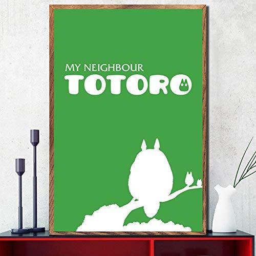 zhuifengshaonian Mi Vecino Totoro Studio Ghibli Anime Carteles e Impresiones Lienzo Pintura Cuadros en la Pared Arte decoración del hogar(Zt-2389) Sin Marco Poster 40x50cm