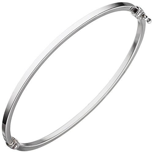 JOBO Armreif Armband oval 585 Gold Weißgold Weißgoldarmreif