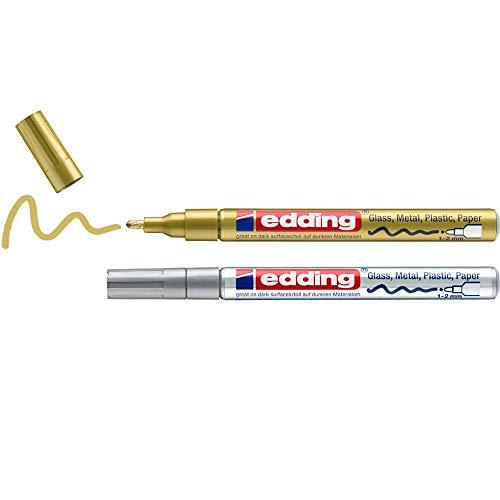 edding 751 Glanzlackmarker - gold, silber - Packung mit 2 Lackmarkern - Rundspitze 1-2 mm - Lackstift für Glas, Stein, Holz, Kunststoff und Papier - wasserfest, stark deckend