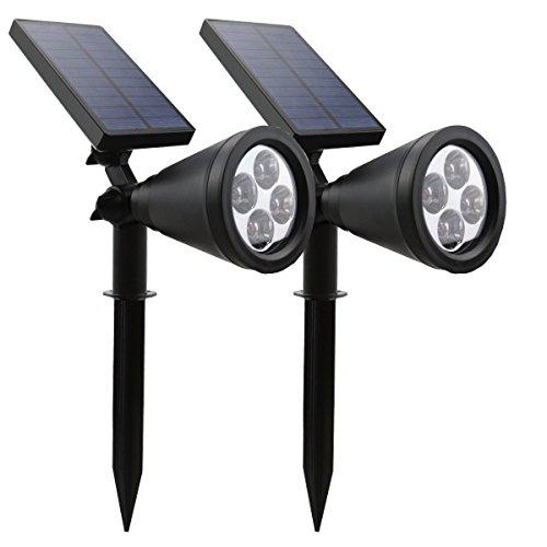 Kacuco [2 Pack] Solar Powered LED Outdoor Garden Spotlight Landscape Light Track Lighting Site Lighting - Waterproof - Outdoor Wall Light In-Ground Lights Bulb