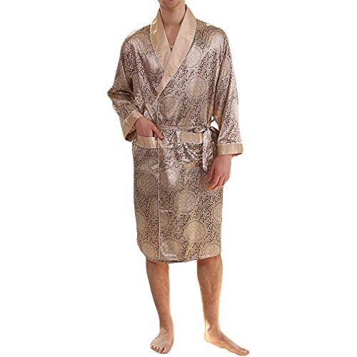 YIMANIE Men's Silk Satin Robe Luxurious Spa Long Sleeve House Kimono Nightwear Bathrobe,Gold,2XL