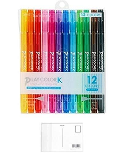 トンボ鉛筆 水性サインペン プレイカラーK 12色 GCF-011 + 画材屋ドットコム ポストカードA