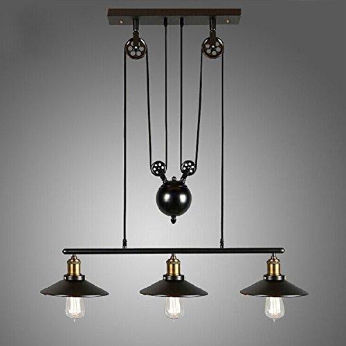 zy-Pendentif pight Pulley Vintage Loft Plafonnier Lampe Suspension Éclairage artistique Corps