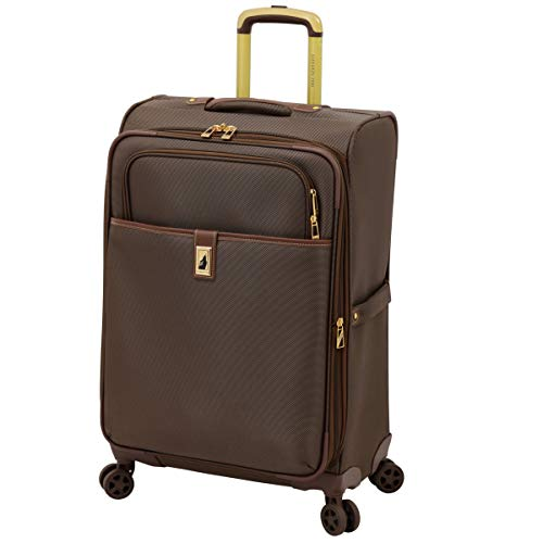LONDON FOG Kensington II Softside Expandable Spinner Luggage, Bronze, Checked-Medium 25-Inch
