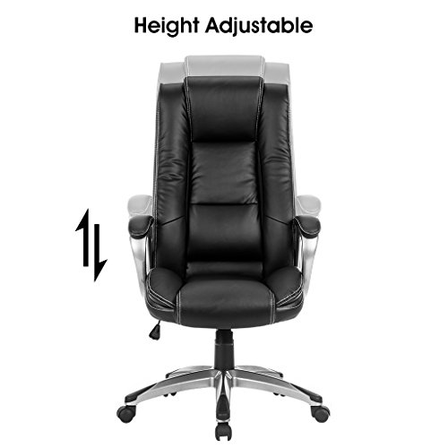LANGRIA High-Back Executive Office Chair Black Faux Leather Computer Chair, Modern and Ergonomic Design, Well-Padded Armrests, Adjustable Seat Height, Knee Tilt Mechanism, 360 Degree Swivel, LROC-7263 Photo #5