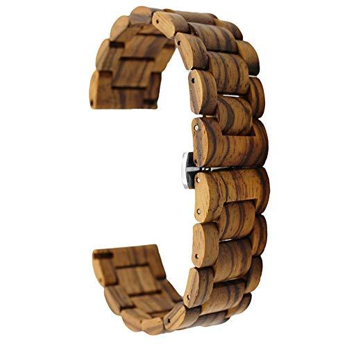 Correa de madera de 20 mm con correa de liberación rápida, pulsera de repuesto para mujeres y hombres, Madera.,