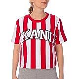 Karl Kani College Stripe Tee T-Shirt Damen Crop Shirt weiß rot (weiß rot, M)