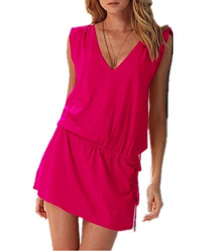 ERGEOB® Kurzes Luftiges Damen Sommerkleid mit tiefem V-Ausschnitt in Pink - Rückenfreies Freizeitkleid Ideal als Bikini Cover Up, Strand, Urlaub, Pool, Meer, See, Sommernächte, Party.