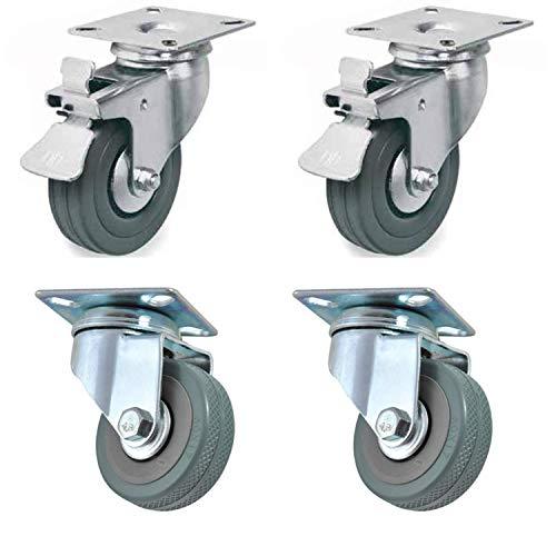 4 ruedas de 50 mm con freno para transporte, fácil de mover, silencioso, apto para todas las superficies (50 mm), tratamiento antioxidante, carga total de 120 kg.