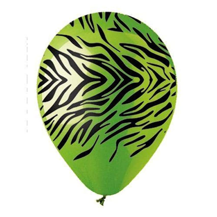 CTI Latex Balloons 950057 ALL- ALL-ROUND ZEBRA LM GREEN/BLACK INK, 12
